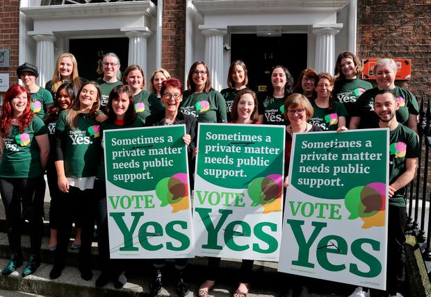 The Together for Yes poster for the referendum was launched yesterday with the help of campaign co-directors Orla O'Connor, Ailbhe Smyth and Grainne Griffin. Photo: Maxwells