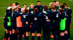 Players and staff huddle together following Ireland's training session at Tallaght Stadium. Photo: Sportsfile