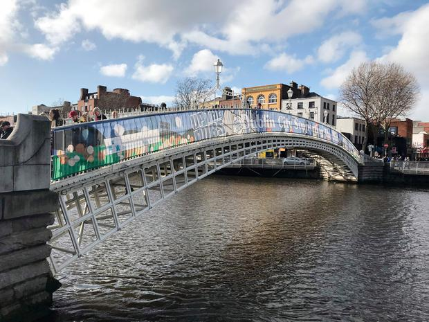 Banners placed on the Ha'penny Bridge celebrating Dublin GAA have been branded 'cheap and tacky'