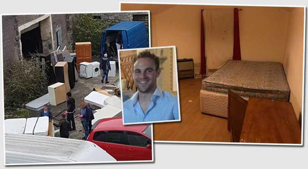 Pictured: Christian Carter (wearing grey hat) moving items of furniture from a warehouse in Drumcondra, and right, one of the rooms above the pub