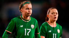 Ruesha Littlejohn, left, and Katie McCabe of Republic of Ireland react following the 2019 FIFA Women's World Cup Qualifier match between Republic of Ireland and Netherlands at Tallaght Stadium in Tallaght, Dublin. Photo by Stephen McCarthy/Sportsfile