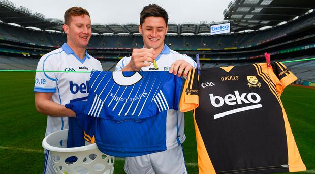 Dublin footballer Ciaran Kilkenny (left) and Lee Chin at the launch of the Beko Club Bua award scheme. Photo: Stephen McCarthy/Sportsfile