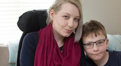 Zondra Meaney (33), from Limerick, at home with her son Carrick (10). Photo: Liam Burke/Press 22