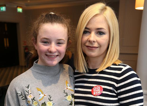 Louise Dunleavy, from Navan, Co Meath, with her daughter Ava (13) at the Save the 8th press conference in Dublin. She developed life-threatening sepsis during her fifth pregnancy. Photo: Damien Eagers