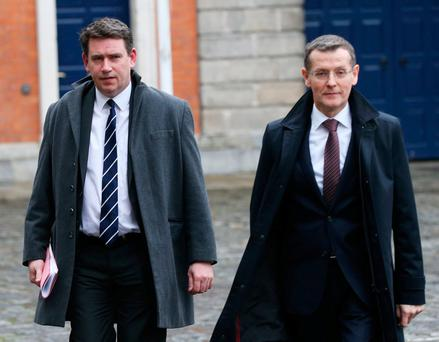 Fine Gael TD John Deasy, left, and Seamus McCarthy, Comptroller & Auditor General, leaving the Disclosures Tribunal in Dublin Castle. Mr McCarthy is expected to give evidence today. Photo: Stephen Collins/Collins Photos