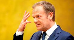 European Council president Donald Tusk at UCD. Photo: PA