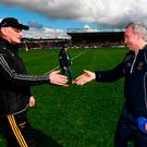 Brian Cody shakes the hand of Michael Ryan after Kilkenny got the better of Tipperary in Sunday's league final. Photo: Stephen McCarthy/Sportsfile