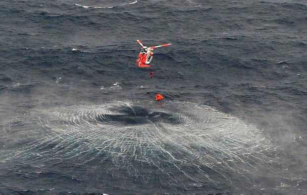 An Air Corps helicopter at work at the site of the rescue operation. Photo: Irish Air Corps
