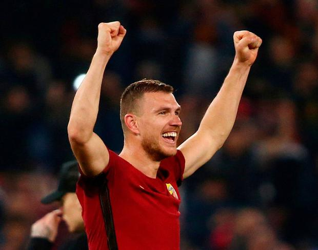 Roma's Edin Dzeko. Photo: Tony Gentile/Reuters