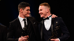 4 November 2016; Dublin footballers Diarmuid Connolly, left, and Ciarán Kilkenny with their awards at the 2016 GAA/GPA Opel All-Stars Awards at the Convention Centre in Dublin. Photo by Ramsey Cardy/Sportsfile