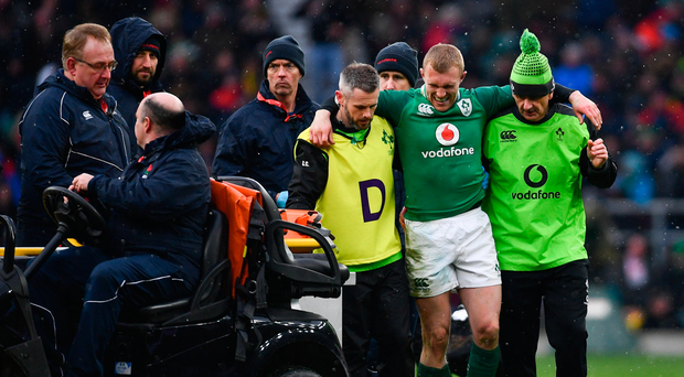 17 March 2018; Keith Earls of Ireland after picking up an injury during the NatWest Six Nations Rugby Championship match between England and Ireland at Twickenham Stadium in London, England. Photo by Ramsey Cardy/Sportsfile