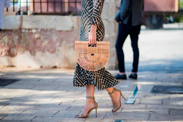 Cult Gaia bag seen during Tel Aviv Fashion Week on March 13, 2018 in Tel Aviv, Israel. (Photo by Christian Vierig/Getty Images)