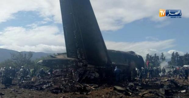 An Algerian military plane is seen after crashing near an airport outside the capital Algiers, Algeria April 11, 2018 in this still image taken from a video. ENNAHAR TV/Handout/ via REUTERS