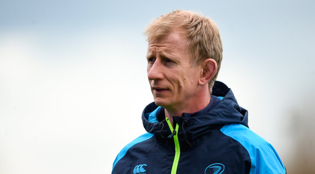 9 April 2018; Head coach Leo Cullen during Leinster Rugby squad training at Energia Park in Donnybrook, Dublin. Photo by David Fitzgerald/Sportsfile