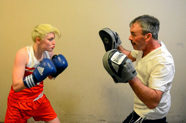 16 January 2015; Kristina O'Hara, Emerald Boxing Club, spars with her trainer Kavin McDonald before her victory over Elaine Harrison, Ballina, Co. Mayo, in their 51kg bout. National Elite Boxing Championships, Semi-Finals, National Stadium, Dublin. Picture credit: Cody Glenn / SPORTSFILE