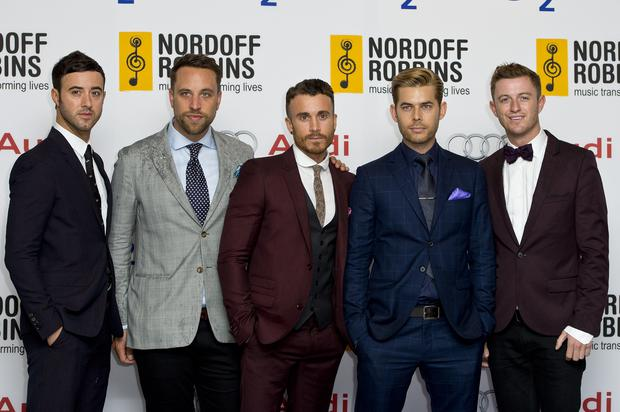 LONDON, ENGLAND - JUNE 28: Mark Frank, Lachlan Chapman, Mike Crawshaw, Darren Everest and Timmy Matley of the Overtones attend the Nordoff Robbins Silver Clef awards at London Hilton on June 28, 2013 in London, England. (Photo by Ben A. Pruchnie/Getty Images)