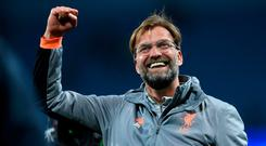 Liverpool's German manager Jurgen Klopp reacts after the victory over Man City last night