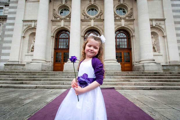 Countdown to Cystic Fibrosis Ireland's 65 Roses Day Pictured is Eva Rose Martin, age 5, from St Margaret's, Dublin, who has cystic fibrosis. Picture by Shane O'Neill, SON Photographic