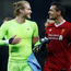 Loris Karius and Dejan Lovren celebrate after Liverpool's win against Manchester City. Photo: Reuters