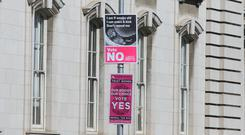 Placards for the upcoming Abortion Referendum to repeal the 8th amendment in Dublin's City Centre. Photo Gareth Chaney Collins