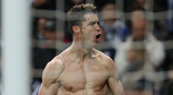 Cristiano Ronaldo celebrates the goal which sent Real Madrid through. Photo: Reuters