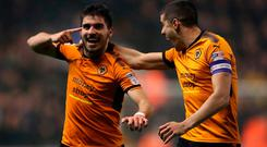 Wolverhampton Wanderers' Ruben Neves celebrates scoring for his side