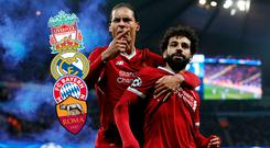 Van Dijk and Salah celebrate against Man City. Liverpool, Real Madrid, Bayern Munich and Roma are in the Champions League semi-final draw