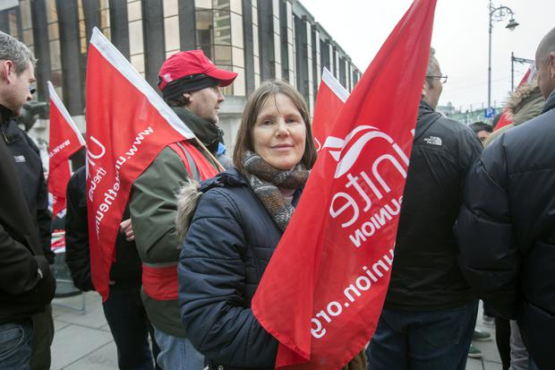 Sheila Martin, Irish Life employee at a protest in Abbey Street against Irish Lifes attempt to close their Defined Benifit Pension Scheme. Photo: Tony Gavin 12/4/2018