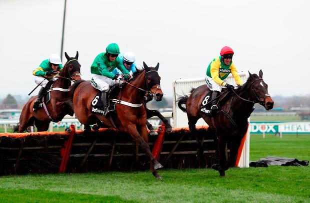 L'Ami Serge ridden by Daryl Jacob (6) on their way to winning the Betway Aintree Hurdle during day one of the 2018 Randox Health Grand National Festival at Aintree