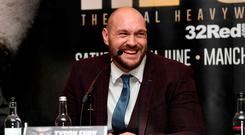 Tyson Fury during the press conference Action Images via Reuters/Tony O'Brien