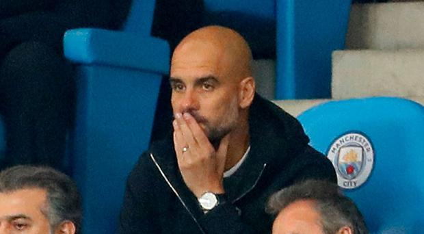 Manchester City manager Pep Guardiola sat in the stands Action Images via Reuters  Jason Cairnduff