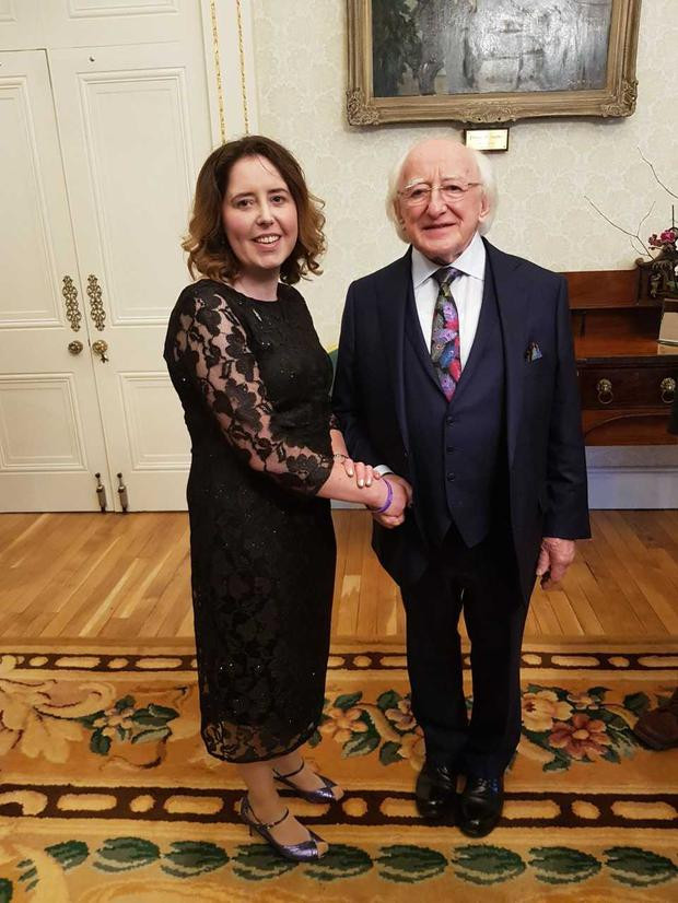 Patricia Duffy Barber, Chair of Cystic Fibrosis Ireland with President Michael D Higgins