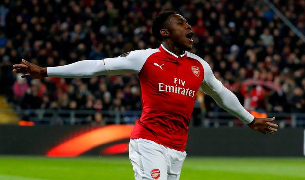 Arsenal's Danny Welbeck celebrates scoring. REUTERS/Grigory Dukor