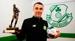 Graham Burke of Shamrock Rovers is pictured with his Player of the Month award for March at Tallaght Stadium yesterday. Photo: Sam Barnes/Sportsfile