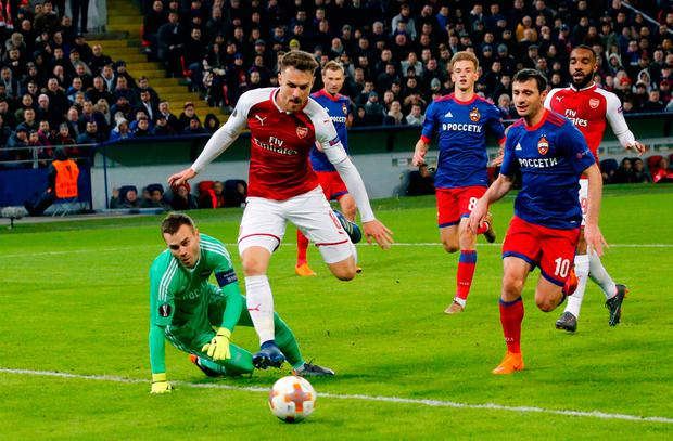 Aaron Ramsey, second left, has an attempt on goal at the CSKA Arena. (AP Photo/Alexander Zemlianichenko)