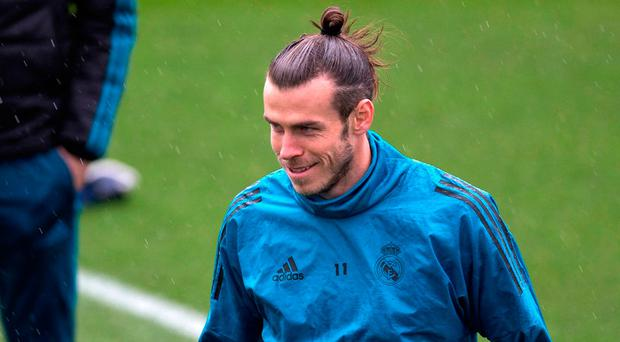 Real Madrid's Gareth Bale pictured during a training session in Madrid. (AP Photo/Paul White)