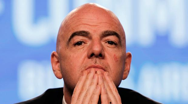 FIFA President Gianni Infantino pictured at the annual conference of the South American Football Confederation, CONMEBOL, in Buenos Aires, Argentina. The governing body of South American soccer has asked FIFA to expand the World Cup to 48 teams for the 2022 tournament in Qatar. (AP Photo/Martin Ruggiero)