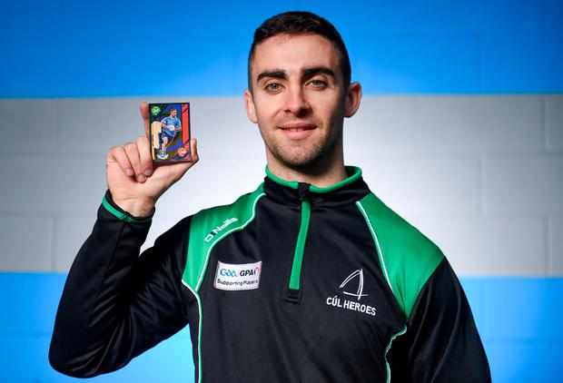Blue hero: James McCarthy at Croke Park for the launch of the Cúl Heroes 2018 collection, the official trading cards of the GAA/GPA