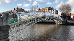 Banners placed on the Ha'penny Bridge celebrating Dublin GAA