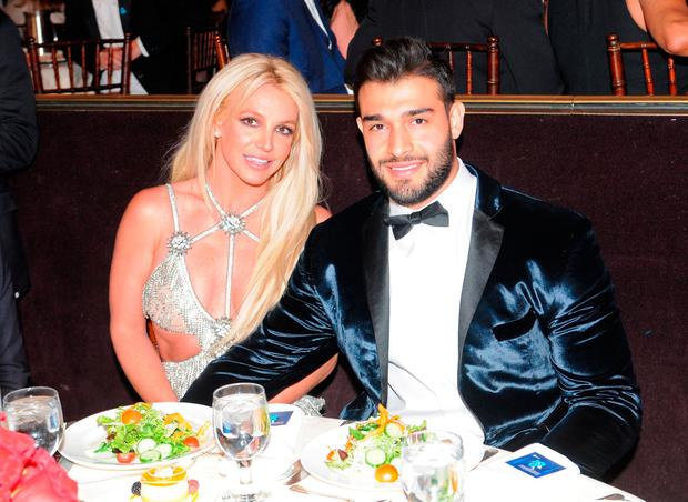 Honoree Britney Spears (L) and Sam Asghari attend the 29th Annual GLAAD Media Awards at The Beverly Hilton Hotel on April 12, 2018 in Beverly Hills, California. (Photo by Vivien Killilea/Getty Images for GLAAD)