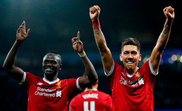 Liverpool's Roberto Firmino and Sadio Mane