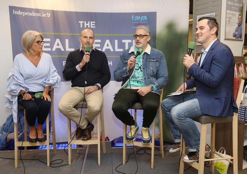 Laya's Health & Wellbeing Manager, Patricia Hyland, Baz Ashmawy, psychologist and broadcaster, David Coleman and Karl Henry