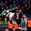 Dan Carr of Shamrock Rovers shoots to score his side's first goal
