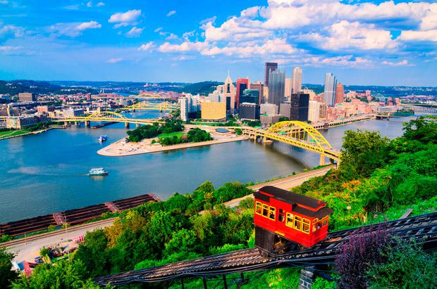 The downtown skyline and incline in Pittsburgh