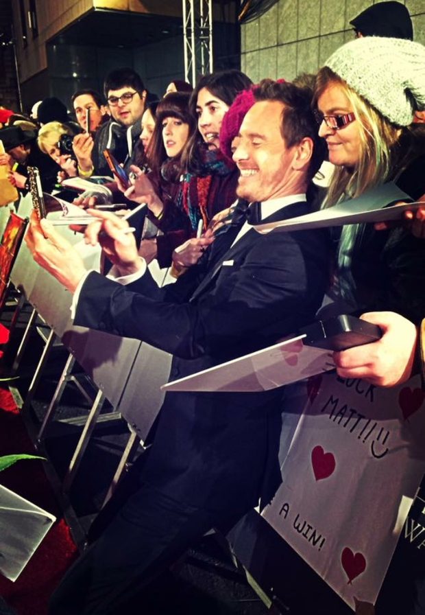 Michael Fassbender on the red carpet at BAFTA.