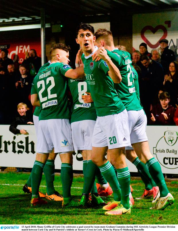 Shane Griffin of Cork City celebrates a goal scored by team-mate Graham Cummins