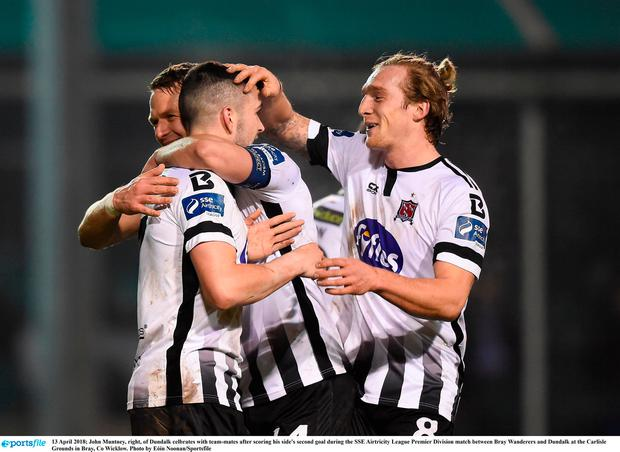 John Muntney, right, of Dundalk celbrates with team-mates