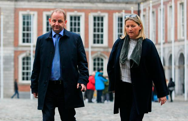 Garda Maurice McCabe with wife Lorraine at the tribunal in Dublin Castle yesterday. Photo: Gareth Chaney/Collins.