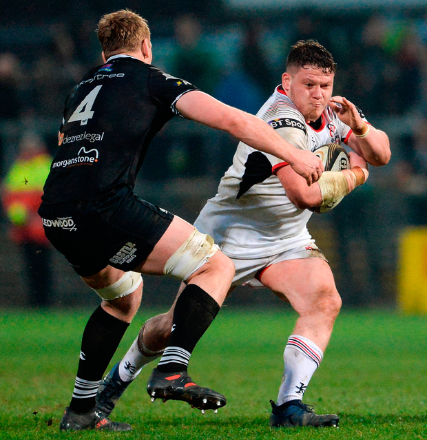 Ulster's Ross Kane battles against Bradley Davies of Ospreys. Photo: Oliver McVeigh/Sportsfile