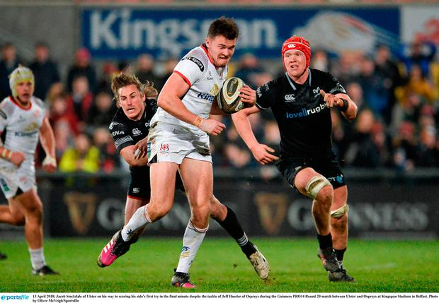 Jacob Stockdale of Ulster on his way to scoring his side's first try